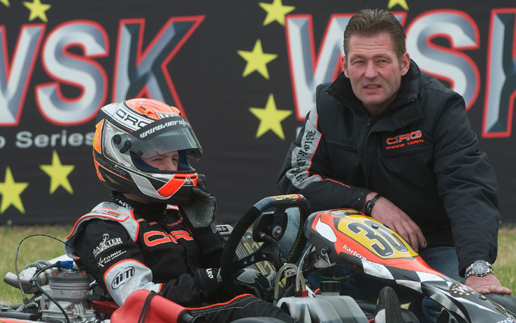 Max Verstappen (NDL) CRG with his father Jos Verstappen (NDL). WSK Euro Series KF3, La Conca, Italy, 7 March 2010.
