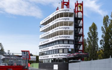 IMOLA, ITALY - OCTOBER 29: A view of the buidling at the end of the pits during the Emilia-Romagna GP at Imola on Thursday October 29, 2020, Italy. (Photo by Glenn Dunbar / LAT Images)
