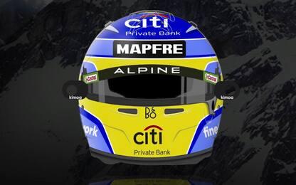 Alonso, il casco per il suo Mondiale con Alpine