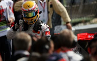 Lewis Hamilton (GBR) McLaren celebrates his pole position in parc ferme. Formula One World Championship, Rd 13, Italian Grand Prix, Qualifying Day, Monza, Italy, Saturday 12 September 2009.