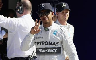 AUTODROMO NAZIONALE MONZA, ITALY - SEPTEMBER 06: Lewis Hamilton celebrates pole position during the Italian GP at Autodromo Nazionale Monza on September 06, 2014 in Autodromo Nazionale Monza, Italy.