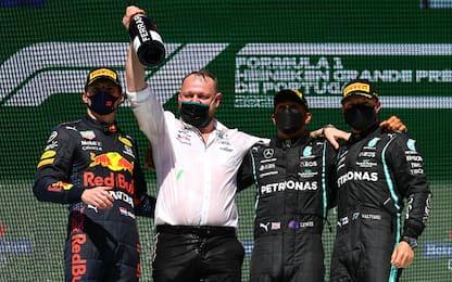 Lewis, Bottas, Max: terzetto da record sul podio