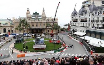 Mercedes' Valtteri Bottas passes through Casino Square next to the Casino Monte-Carlo and the Hotel de Paris Monte-Carlo during first practice at the Circuit de Monaco, Monaco. (Photo by David Davies/PA Images via Getty Images)