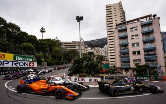 Race start at Loews turn  during the Race of Monaco Formula One Grand Prix  at Monaco on 27th of May, 2018 in Montecarlo, Monaco.  (Photo by Xavier Bonilla/NurPhoto via Getty Images)