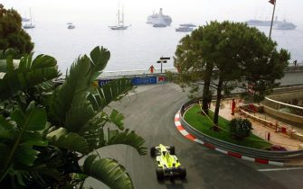 """A Minardi-Ford car takes the """"Portier"""" curve in front of the sea, 03 June 2000, on the  Monaco racetrack, during the third free practice session on the eve of the 58th Monaco Formula One Grand Prix.     (ELECTRONIC IMAGE) (Photo by Patrick HERTZOG / AFP) (Photo by PATRICK HERTZOG/AFP via Getty Images)"""