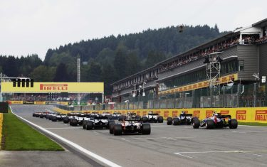 Spa Francorchamps, Belgium. Sunday 27 August 2017.A rear view of the start.World Copyright: Zak Mauger/LAT Images ref: Digital Image _56I3638