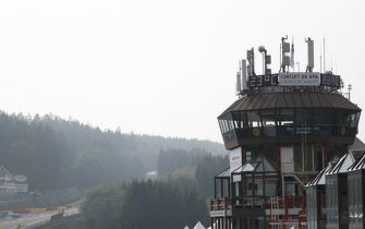SPA-FRANCORCHAMPS, BELGIUM - AUGUST 29: A scenic view of the Spa pit control tower and Eau Rouge during the Belgian GP at Spa-Francorchamps on August 29, 2019 in Spa-Francorchamps, Belgium. (Photo by Zak Mauger / LAT Images)