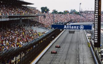 INDIANAPOLIS MOTOR SPEEDWAY, UNITED STATES OF AMERICA - JUNE 19: Rubens Barrichello, Ferrari F2005, follows Michael Schumacher, Ferrari F2005 during the United States GP at Indianapolis Motor Speedway on June 19, 2005 in Indianapolis Motor Speedway, United States of America. (Photo by LAT Images)