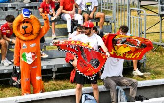 AUTODROMO NAZIONALE MONZA, ITALY - SEPTEMBER 10: A lion mascot in a grandstand with Ferrari fans during the Italian GP at Autodromo Nazionale Monza on Friday September 10, 2021 in Monza, Italy. (Photo by Mark Sutton / Sutton Images)
