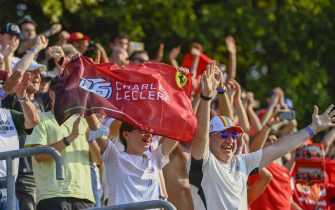 AUTODROMO NAZIONALE MONZA, ITALY - SEPTEMBER 11: Fans cheer for Charles Leclerc, Ferrari during the Italian GP at Autodromo Nazionale Monza on Saturday September 11, 2021 in Monza, Italy. (Photo by Mark Sutton / Sutton Images)