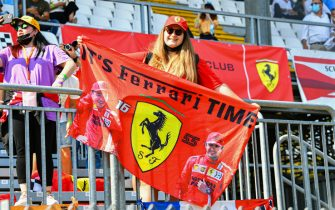 AUTODROMO NAZIONALE MONZA, ITALY - SEPTEMBER 12: Ferrari Fan at Monza during the Italian GP at Autodromo Nazionale Monza on Sunday September 12, 2021 in Monza, Italy. (Photo by Mark Sutton / Sutton Images)