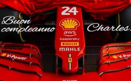 Leclerc compie 24 anni, gli auguri della Ferrari