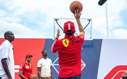 Leclerc-Sainz a canestro: che show con le star NBA
