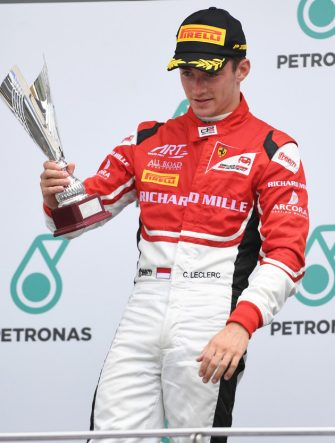 Third placed Charles Leclerc (MON) ART Grand Prix celebrates on the podium with the trophy at GP3 Series, Rd8, Sepang, Malaysia, 30 September - 2 October 2016.