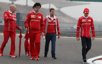 Sebastian Vettel (GER) Ferrari walks the track  with Jock Clear (GBR) Ferrari Chief Engineer and Charles Leclerc (MON) Ferrari Young Driver at Formula One World Championship, Rd2, Chinese Grand Prix, Preparations, Shanghai, China, Thursday 6 April 2017.