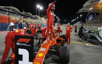 BAHRAIN INTERNATIONAL CIRCUIT, BAHRAIN - MARCH 30: Charles Leclerc, Ferrari, celebrates after securing his first pole position in F1 during the Bahrain GP at Bahrain International Circuit on March 30, 2019 in Bahrain International Circuit, Bahrain. (Photo by Steven Tee / LAT Images)