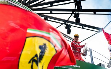 AUTODROMO NAZIONALE MONZA, ITALY - SEPTEMBER 08: Race winner Charles Leclerc, Ferrari celebrates on the podium with the champagne during the Italian GP at Autodromo Nazionale Monza on September 08, 2019 in Autodromo Nazionale Monza, Italy. (Photo by Simon Galloway / Sutton Images)