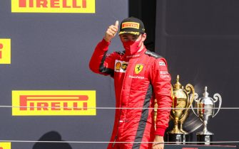 SILVERSTONE, UNITED KINGDOM - AUGUST 02: Charles Leclerc, Ferrari on the podium during the British GP at Silverstone on Sunday August 02, 2020 in Northamptonshire, United Kingdom. (Photo by Charles Coates / LAT Images)