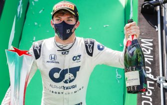 AUTODROMO NAZIONALE MONZA, ITALY - SEPTEMBER 06: Pierre Gasly, AlphaTauri, 1st position, with his trophy and champagne during the Italian GP at Autodromo Nazionale Monza on Sunday September 06, 2020 in Monza, Italy. (Photo by Steven Tee / LAT Images)