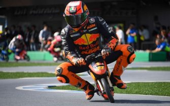 "MOTEGI, JAPAN - OCTOBER 17:   Pol Espargaro of Spain and Red Bull KTM Factory Racing heads down a straight during the pre-event ""Minimoto race  in Mobi Park"" during the MotoGP of Japan - Press Conference at Twin Ring Motegi on October 17, 2019 in Motegi, Japan. (Photo by Mirco Lazzari gp/Getty Images)"