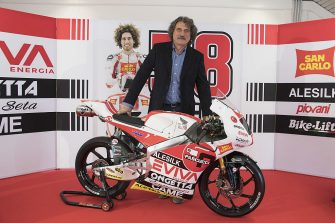PESARO, ITALY - JANUARY 25:  Paolo Simoncelli of Italy and SIC58 Squadra Corse (center) poses with the bike during the SIC58 Squadra Corse Team Presentation in Misano Adriatico Circuit in Misano on January 25, 2017 in Pesaro, Italy.  (Photo by Mirco Lazzari gp/Getty Images)