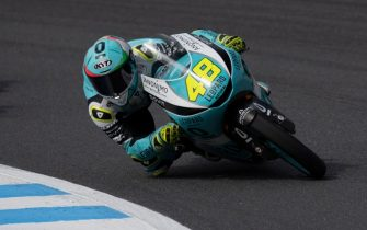 MOTEGI, JAPAN - OCTOBER 20: Lorenzo Dalla Porta of Italy and Leopard Racing rounds the bend during the Moto3 race during the MotoGP of Japan - Race at Twin Ring Motegi on October 20, 2019 in Motegi, Japan. (Photo by Mirco Lazzari gp/Getty Images)