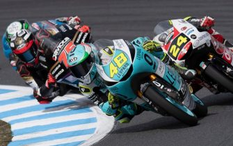 MOTEGI, JAPAN - OCTOBER 20: Lorenzo Dalla Porta of Italy and Leopard Racing leads the field during the Moto3 race during the MotoGP of Japan - Race at Twin Ring Motegi on October 20, 2019 in Motegi, Japan. (Photo by Mirco Lazzari gp/Getty Images)
