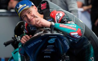Petronas Yamaha SRT's French rider Fabio Quartararo celebrates after earning the pole position for tomorrow's race during the MotoGP qualifying session of the Spanish Grand Prix at the Jerez - Angel Nieto circuit in Jerez de la Frontera on May 4, 2019. (Photo by JORGE GUERRERO / AFP)        (Photo credit should read JORGE GUERRERO/AFP via Getty Images)