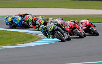 PHILLIP ISLAND, AUSTRALIA - OCTOBER 27: Valentino Rossi of Italy and Yamaha Factory Racing leads the field during the MotoGP race during the 2019 MotoGP of Australia at Phillip Island Grand Prix Circuit on October 27, 2019 in Phillip Island, Australia. (Photo by Mirco Lazzari gp/Getty Images)