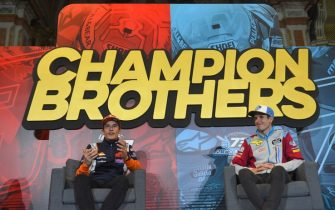 Repsol Honda Team's Spanish rider Marc Marquez (L) and his brother EG 0,0 Marc VDS's Spanish rider Alex Marquez hold a press conference a few hours before celebrating their MotoGP and Moto2 titles in Cervera on November 9, 2019. - Marc Marquez on October 6 sealed his sixth MotoGP title in Buriram, Thailand, while his brother Alex became Moto2 world champion on November 3 in the Malaysian city of Sepang. (Photo by JOSE JORDAN / AFP) (Photo by JOSE JORDAN/AFP via Getty Images)