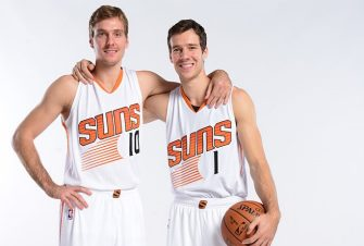 PHOENIX, AZ - SEPTEMBER 29: Zoran Dragic #10 and Goran Dragic #1 of the Phoenix Suns pose for a photo during Phoenix Suns Media Day on September 29, 2014 at U.S. Airways Center in Phoenix, Arizona. NOTE TO USER: User expressly acknowledges and agrees that, by downloading and or using this photograph, user is consenting to the terms and conditions of the Getty Images License Agreement. Mandatory Copyright Notice: Copyright 2014 NBAE (Photo by Barry Gossage/NBAE via Getty Images)Zoran Dragic;Goran Dragic