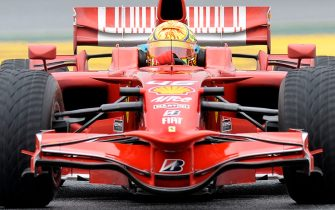 Moto GP world champion Italian Valentino Rossi drives a Ferrari F2008 during a test session at Catalunya´s racetrack in Montmelo, near Barcelona, on January 20, 2010. AFP PHOTO/LLUIS GENE (Photo credit should read LLUIS GENE/AFP via Getty Images)