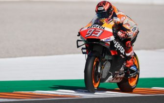 VALENCIA, SPAIN - NOVEMBER 20: Marc Marquez of Spain and Repsol Honda Team heads down a straight during the MotoGP Tests in Valencia at Ricardo Tormo Circuit on November 20, 2019 in Valencia, Spain. (Photo by Mirco Lazzari gp/Getty Images)
