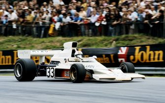 Mike Hailwood drives the #33 Yardley McLarenFord M23      during the British Grand Prix on 20 July 1974 at the Brands Hatch circuit in Fawkham, Great Britain. (Photo by Getty Images)
