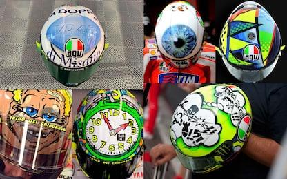 Fantasia al potere: tutti i caschi di Rossi. FOTO