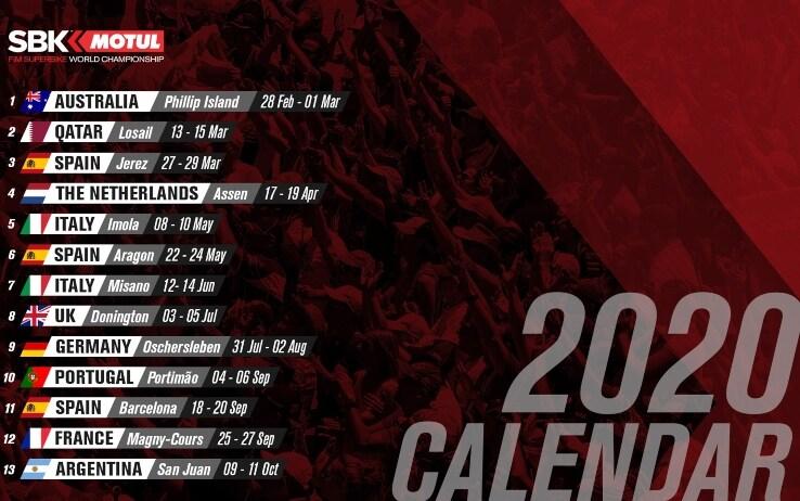 Superbike, calendario