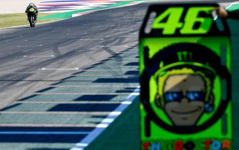 Italian MotoGP rider, number 46 Valentino Rossi, of the Yamaha Factory Racing during the Saturday PIT during Free Practice FP3 of the Motorcycling Grand Prix of San Marino and Riviera di Rimini at the Misano Circuit in Misano Adriatico, Italy, 14 September 2019 ANSA/ALESSIO MARINI