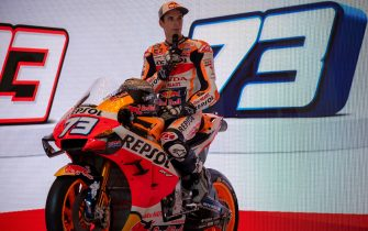 Moto2 World Champion Alex Marquez attends the Repsol Honda Team's official presentation for the upcoming 2020 Motorcyle Grand Prix season in Jakarta on February 4, 2020. - Alex Marquez was announced as the successor to retired Jorge Lorenzo to team up with his older brother and reigning top-class world champion Marc. (Photo by BAY ISMOYO / AFP) (Photo by BAY ISMOYO/AFP via Getty Images)