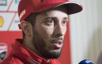 DOHA, QATAR - FEBRUARY 23: Andrea Dovizioso of Italy and Ducati Team speaks with journalists during the MotoGP Tests at Losail Circuit on February 23, 2020 in Doha, Qatar. (Photo by Mirco Lazzari gp/Getty Images)