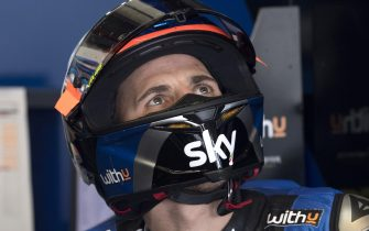 JEREZ DE LA FRONTERA, SPAIN - FEBRUARY 19: Andrea Migno of Italy and Sky Racing Team VR46   looks on in box during the Moto2 And Moto3 Tests In Jerez at Circuito de Jerez on February 19, 2020 in Jerez de la Frontera, Spain. (Photo by Mirco Lazzari gp/Getty Images)