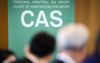 epa07998578 The logo of (CAS) is pictured as Chinese swimming star Sun Yang (unseen), arrives for the Court of Arbitration for Sport, (CAS) public hearing in Montreux, Switzerland, 15 November 2019. One of China's biggest Olympic stars and three-time gold medalist swimmer Sun Yang is facing a World Anti-Doping Agency appeal in Switzerland that seeks to ban him for up eight years for allegedly refusing to give samples voluntarily.  EPA/JEAN-CHRISTOPHE BOTT