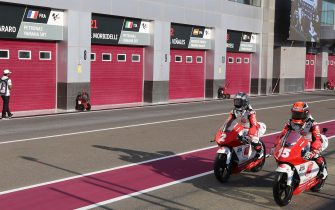A picture taken on March 6, 2020 shows garages closed at the Losail International Circuit after cancelling the Qatar MotoGP race. - This weekend's season-opening MotoGP in Qatar was cancelled because of the spread of the coronavirus, although the Moto2 and Moto3 races will go ahead as planned as riders were already in the country for testing. (Photo by KARIM JAAFAR / AFP) (Photo by KARIM JAAFAR/AFP via Getty Images)