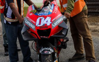 SEPANG, SELANGOR, MALAYSIA - FEBRUARY 8: The bike of Ducati Team Italian rider Andrea Dovizioso after crashed out during the MotoGP pre-season test at Sepang International Circuit on February 8, 2020 in Sepang, Selangor, Malaysia. (Photo by Sadiq Asyraf/Getty Images)