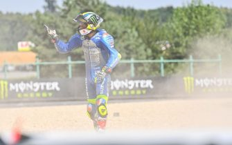 Suzuki Ecstar's Spanish rider Joan Mir reacts after a crash with Red Bull KTM Tech 3´s Spanish rider Iker Lecuona (unseen) during the Moto GP Czech Grand Prix at Masaryk circuit in Brno on August 9, 2020. (Photo by Joe Klamar / AFP) (Photo by JOE KLAMAR/AFP via Getty Images)