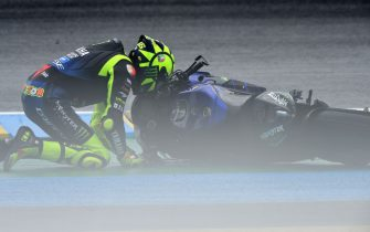 Monster Energy Yamaha's Italian rider Valentino Rossi crashes in the first corner during the French MotoGP race in Le Mans northwestern France, on October 11, 2020. (Photo by JEAN-FRANCOIS MONIER / AFP) (Photo by JEAN-FRANCOIS MONIER/AFP via Getty Images)