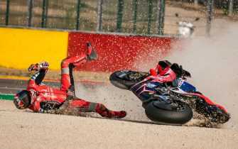 ALCANIZ, SPAIN - OCTOBER 25: Jack Miller of Australia and Pramac Racing crashes at turn 2 during the MotoGP of Teruel at Motorland Aragon Circuit on October 25, 2020 in Alcaniz, Spain. (Photo by Steve Wobser/Getty Images)
