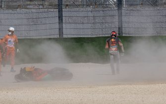 MISANO ADRIATICO, ITALY - SEPTEMBER 18: Pol Espargaro of Spain and Red Bull KTM Factory Racing  crashed out during the MotoGP Of San Marino - Free Practice at Misano World Circuit on September 18, 2020 in Misano Adriatico, Italy. (Photo by Mirco Lazzari gp/Getty Images)