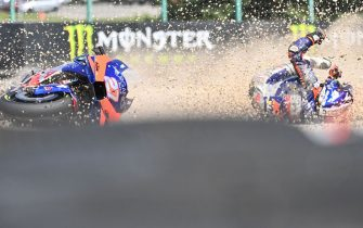 Red Bull KTM Tech 3´s Spanish rider Iker Lecuona crashes during the Moto GP Czech Grand Prix at Masaryk circuit in Brno on August 9, 2020. (Photo by Joe Klamar / AFP) (Photo by JOE KLAMAR/AFP via Getty Images)