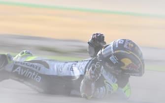 MOTORLAND ARAGON, SPAIN - OCTOBER 16: Johann Zarco, Avintia Racing crash during the Aragon GP at Motorland Aragon on October 16, 2020 in Motorland Aragon, Spain. (Photo by Gold and Goose / LAT Images)