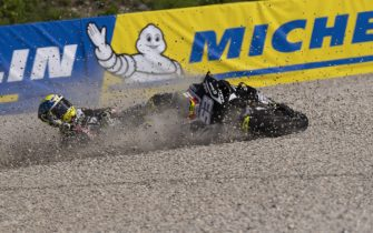 SPIELBERG, AUSTRIA - AUGUST 21: Esteve Rabat of Spain and Reale Avintia Racing crashes out during the MotoGP Of Styria - Free Practice at Red Bull Ring on August 21, 2020 in Spielberg, Austria. (Photo by Mirco Lazzari gp/Getty Images)